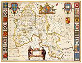 Joan Blaeu, Oxfordshire Map, England, 17th Century