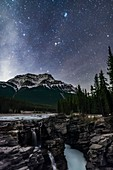 Pleiades and Taurus over Athabasca Falls, Alberta, Canada
