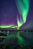 Aurora over Houseboats on Yellowknife Bay, Canada