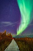 Aurora over boardwalk