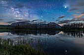 Jupiter and Saturn over Maskinonge Lake, Alberta, Canada