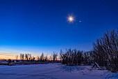Waning Moon with Mars and Jupiter at Dawn