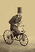Moustachioed Man Riding Horse-Tricycle, 1865