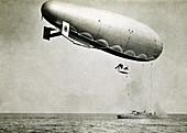 Blimp Attached to Gunboat, World War 1