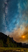 Milky Way and Moon over Yosemite National Park