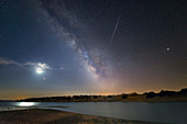 Moon, Mars, Milky Way, satellite flare and Jupiter