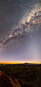 Milky Way and zodiacal light over Atacama Desert
