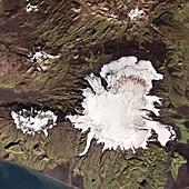 Myrdalsjokull ice cap over Katla volcano, satellite image