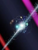Electron orbit particle cloud laser experiment, illustration