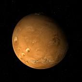 Tharsis Montes to North Pole, Mars, illustration