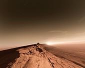 Manned rover on Mars, illustration