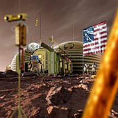 Astronauts and Mars base, illustration