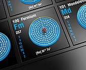 Fermium, atomic structure