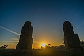 Winter solstice sunrise at the Colossi of Memnon