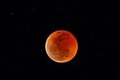 Total lunar eclipse at totality, July 2018