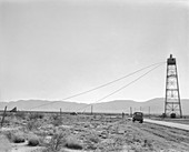 Test tower for Trinity Test atom bomb, 1945