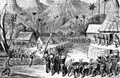 19th Century Fijian village, illustration