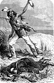 19th Century Native American scalping an enemy, illustration