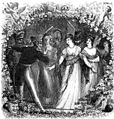 Ladies talking to army officers, 19th Century illustration