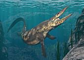Mosasaurus swimming, illustration
