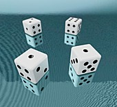 Dice and waves, illustration