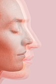Multiple female faces in profile with eyes closed