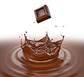 Chocolate cube splashing into chocolate liquid, illustration