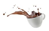 Chocolate cube splashing into cup, illustration