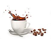 Liquid coffee splash in a white cup, illustration