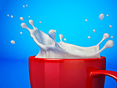 Mug with milk splash, illustration