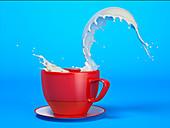 Milk splash in mug, illustration