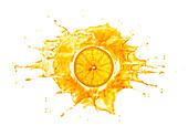 Splash with orange slice, illustration