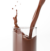 Pouring liquid chocolate into glass, illustration