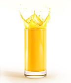 Glass full of orange juice with splash, illustration