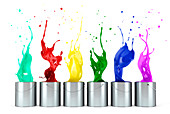 Multicolour paints splashing out of tins, illustration