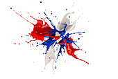 Red, white and blue paint explosion, illustration