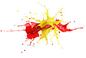 Red and yellow paint explosion, illustration