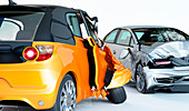 Two cars crashed in accident, illustration