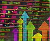 Stock market, conceptual illustration