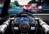 Cockpit of self-driving car, illustration