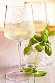 Prosecco with homemade basil syrup