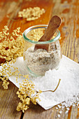 Homemade elderflower salt for fish, poultry, vegetables and salad dressings