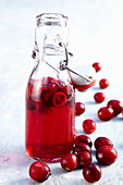 Cranberry syrup in a flip-top bottle with fresh fruit