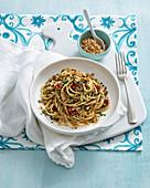 Spaghetti con la mollica (spaghetti with spicy bread crumbs, Italy)