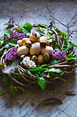 An Easter wreath with eggs