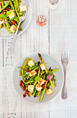 Asparagus salad peas flat beans thyme chives sun-dried tomatoes and paprika feta