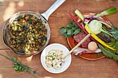 Ingredients for kohlrabi and chard tarte