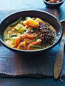 Vegetable curry with black quinoa