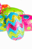 Chocolate Easter eggs wrapped in colourful foil