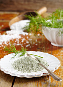 Homemade dill salt for fish and cucumber dishes